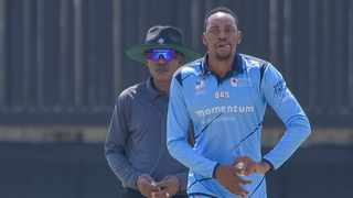 Aaron Phangiso starred with the ball as the Titans beat the Mpumalanga Rhinos in their CSA T20 KO game in Mangaung on Wednesday. Photo: @Titans_Cricket/Twitter