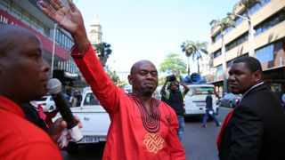 Abahlali baseMjondolo leader Sbu Zikode amongs the members during KZN provincial march in solidarity with NUMSA on the streets of Durban to handover over memorandum of demand at City Hall, Durban. Picture: Motshwari Mofokeng/African News Agency (ANA)