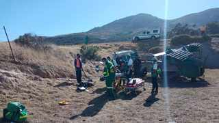 Accident scene on the R44 before the Durbanville off ramp where 51 farm workers were injured after a truck transporting 80 of them overturned. Picture supplied by Western Cape EMS