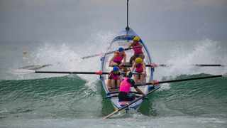 Action from the gruelling Surf Boat competition, in which KZN's Marine Lifesaving Club dominated in the men's and women's events. Picture: Anthony Grote