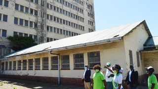 ActionSA leader Dr Makhosi Khoza (in front) inspected the neglected Esplanade government building in eThekwini.