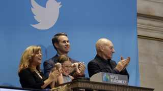 Actor Patrick Stewart (R) and 9-year-old Vivenne Harr (C), who uses proceeds from her lemonade stand to fight slavery, ring the opening bell as Twitter co-founder Evan Williams and and Boston police officer Cheryl Fiandaca (L) look on during the Twitter Inc. IPO on the floor of the New York Stock Exchange in New York, November 7, 2013.