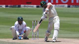 Aiden Markram hits out during his innings of 90 for the Proteas against Pakistan on Friday. Photo: Gavin Barker/BackpagePix