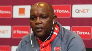 Al Ahly coach Pitso Mosimane during the post match press conference after the 2020 CAF Super Cup Final. Photo: BackpagePix
