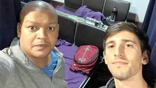 Allan Huysamen from Cape Town and Allister Nunn from Joburg are still waiting to be rescued from the Kuala Lumpur International Airport in Malaysia. Picture: Supplied