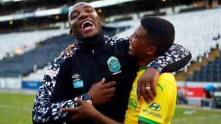 AmaZulu coach Benni McCarthy has a laugh with a Mamelodi Sundowns player after their DStv Premiership match. Picture: Steve Haag Sports via BackpagePix