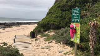 An NSRI pink rescue buoy ready for use at a beach. File photo: NSRI
