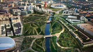 An aerial view of London's Olympic Park.