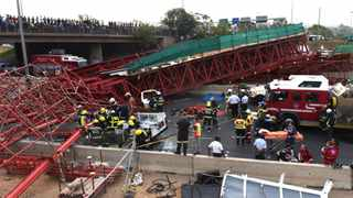 An image of the foot bridge on Grayston Drive that collapsed, causing havoc on the M1. Photo: Antoine de Ras