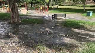An overflowing drain has led to a massive puddle forming at Thrasher Park and Pufaro Grounds. Picture: SUPPLIED