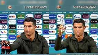 As soccer star Cristiano Ronaldo sat down for a press conference at the European Championship on Monday, he pushed aside two Coca-Cola bottles placed in front of him. Photo: Facebook