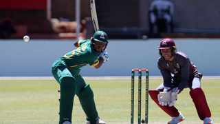Asakhe Tsaka of the SA Under19s tries to hit the ball during the T20 Cup match against the North West Dragons. Picture: Muzi Ntombela/BackpagePix