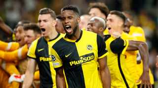 BSC Young Boys' Jordan Siebatcheu celebrates with teammates after scoring the winning goal agaunst Manchester United in their Champions League clash at the Stadion Wankdorf in Bern on Tuesday. Photo: Denis Balibouse/Reuters