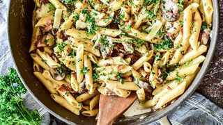 Bacon and mushroom penne. Picture: Supplied