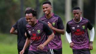 Bafana Bafana's Percy Tau and Themba Zwane take part in a training session ahead of their Afcon qualifiers. Photo: Samuel Shivambu/BackpagePix