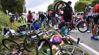 B&B Hotels p/b KTM rider Bryan Coquard of France reacts after a crash on the first stage of the Tour de France. Photo: Anne-Christine Poujoulat/Reuters