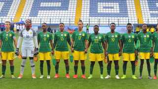 Banyana sing the SA national anthem ahead of their match in Cyprus. Picture credit: safa.net