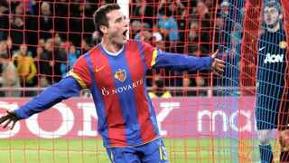 Basel's Alex Frei celebrates after scoring the second goal during their Champions League Group C soccer match against Manchester United at the St. Jakob-Park stadium in Basel, Switzerland.