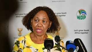 Basic Education Minister, Mrs Angie Motshekga, addressing media to provide an update on the basic education sector's response to the impact of COVID-19 on schooling as the countdown to matric examinations continues.The briefing was held Ronnie Mamoepa Press Room, Tshedimosetso House. 08/10/2021. Ntswe Mokoena