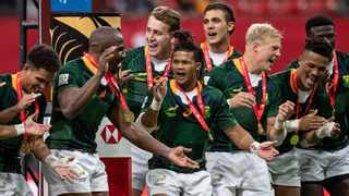 Blitzboks players celebrate after defeating Kenya to win the championship final at the HSBC Canada Sevens rugby tournament, in Vancouver, B.C. Photo: Canadian Press/Shutterstock