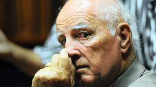 """Bob Hewitt and his wife Delaille Hewitt at the Palm Ridge High Court. Tennis star Bob Hewitt is charged with rape and sexual assault of Theresa """"Twiggy"""" Tolken who was a teenager when the offence allegedly occurred. 090215. Picture: Chris Collingridge 651"""