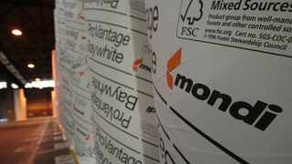 Branded rolls of paper are seen at a Mondi production facility. Picture: Simphiwe Mbokazi.