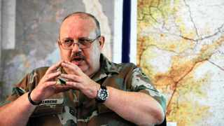 Brigadier-General Koos Liebenberg, the SANDFs director of conventional operations, briefs the media on Operation Corona at the Sandriver Base in the Kruger National Park and the armys anti-rhino poaching operations.