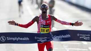 Britain's Mo Farah wins the Men's Elite Race in the 2019 Great North Run in Newcastle, England in September 2019. Photo: Richard Sellers/PA via AP