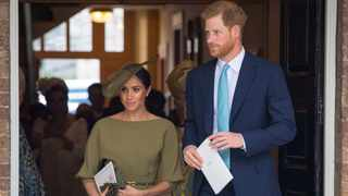Britain's Prince Harry and Meghan, the Duchess of Sussex, leave the chapel after the christening of Prince Louis at the Chapel Royal, St James's Palace, London. Picture: Reuters