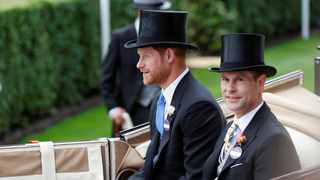 Britain's Prince Harry and Prince Edward arrive at Ascot racecourse. Picture: Reuters/Peter Nicholls