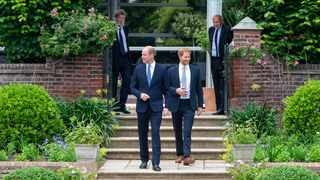 Britain's Prince William, The Duke of Cambridge, and Prince Harry, Duke of Sussex, attend the unveiling of a statue they commissioned of their mother Diana, Princess of Wales, in the Sunken Garden at Kensington Palace, London, Britain July 1, 2021. Picture: Dominic Lipinski/Pool via REUTERS