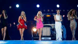 British band 'The Spice Girls' perform during the Closing Ceremony at the 2012 Summer Olympics, in London. Picture: AP