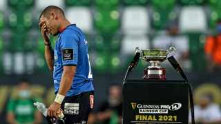 Bulls back Gio Aplon looks dejected after the Rainbow Cup final against Benetton on Saturday evening. Photo: Tommy Dickson/INPHO/Shutterstock