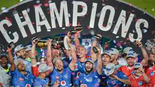 Bulls players celebrate with the Currie Cup following their final win over the Sharks. Picture: Christiaan Kotze/BackpagePix