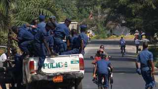 Burundian police arrive to set up a road block in Bujumbura in the wake of a crisis surrounding President Nkurunziza's bid to stand for a third consecutive five-year term in office. Picture: Landry Nshimiye