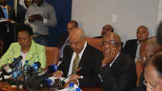 CLEARING OFF:Finance minister Pravin Gordhan addressing members of the media on the state of financial crisis in Limpopo with Health minister Aaron Motsoaledi and Basic Education minister Angie Motshekga listen in Polokwane.PHOTO:CHESTER MAKANA