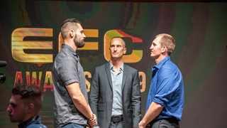 Cairo Howarth (centre) handles a face-off between EFC fighters. Howarth is confident the Highbury liquidation application will be unsuccessful. Photo: EFCWorldwide.