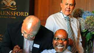 Cape Town 080329-Tokyo Sexwale and Jacob Zuma exchange a warm handshake as Christo Wiese looks on. Picture-Tracey Adams Taken in 2008