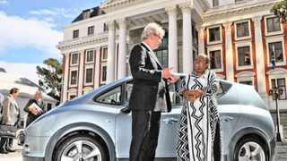 Cape Town-100420-Kobus Meiring (left), CEO of Optimal Energy, the company that developed the Joule, South Africa's first electric car, shows Naledi Pandor, National Minister for Science and Technology, around. Picture Jeffrey Abrahams1