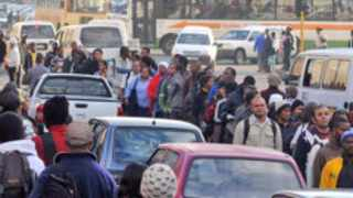 Cape Town. 100517-Train STrike Bellville Taxi rank queus stretched through several streets-Reporter-Kothur-Photographer-Tracey Adams