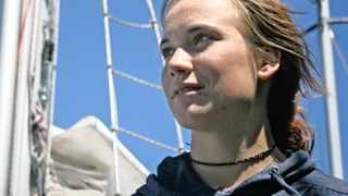 Cape Town - 111127 - Dutch, solo-sailor, Laura Dekker, 16, docks at the V&A Waterfront afer setting sail from Port Elizabeth three days ago and arriving in Cape Town last night in 50 knot winds on her yocht, 'Guppy'. Reporter: Caryn Dolley. Picture: Candice Chaplin