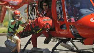 Cape Town - 120116 - World Famous BASE Jumper Jeb Corliss had an accident while BASE Jumping off Table Mountain. He was coded Orange (Moderate Injuries) and air lifted off the mountain by AMS and then transported to hospital by Metro EMS Ambulance -  Photo: Matthew Jordaan