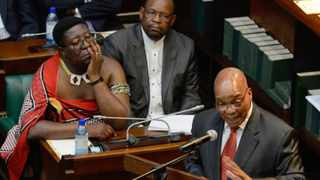 Cape Town-121101-President Jacob Zuma addresses traditional leaders in the Old Assembly. Listening is Vusi Madonsela (left back), DG for Co-operative Governance and Traditional Affairs and ANC Chief Whip, Mathole Motshekga. Picture Jeffrey Abrahams