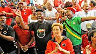 Cape Town-140204-Cosatu president Sidumo Dlamini was joined by members of the SACP and ANC to rally support for the ANC during this year's National election. The Tri-Partite Alliance are looking to end DA dominance in the Western Cape this year-Reporter-Warren-Photographer-Tracey Adams