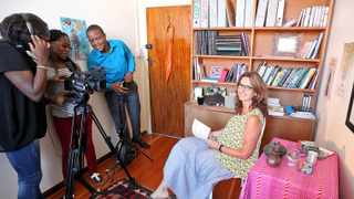 Cape Town - 150122 .Associate professor of Anthropology Susan Levine ( RHS) films a lecture as part of the University of Cape Town's first massive open online course (MOOC). The free six week course that investigates how to humanise healthcare will launch on March 16 2015. ( Please refer to the videographers as the 'MOOC production team'.) reporter: Jan Cronje. Pic : jason boud