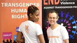 Cape Town - 160518. Estian Smit and Tshepo Kgositau work at Gender DynamiX, a Cape Town NGO focused on advocacy in the transgender community. They have fought for speedier ID changes, partnered with other organizations for workshops and seminars, and hosted the first transgender focused health conference in Africa in 2011. reporter: Bethany Ao. Pic: Jason Boud