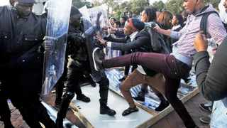 Cape Town 160609- Stellenbosch student movement clashes with security after erecting a shack at the University. 150 black workers were dismissed during the outsourcing strike. Picture Cindy Waxa.Reporter Ilse/Argus