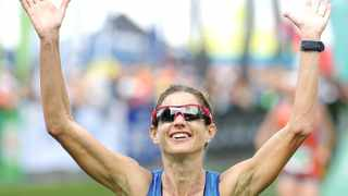 Cape Town. 260316. Caroline Wörstman wins the women's 56km race during the Old Mutual Two Oceans Ultra Marathon 56km race on March 26, 2016 in Cape Town, South Africa. Picture Leon Lestrade.