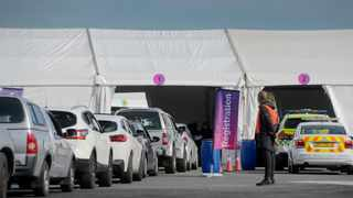 Cars queue at the launch of the drive-through component of the Athlone vaccine site of hope showcasing the accessibility aspect of the drive-through. Picture: Armand Hough/African News Agency(ANA)