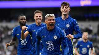 Chelsea's Thiago Silva celebrates with teammates after scoring their first goal in their Premier League game against Tottenham Hotspur in London on Sunday. Photo: Tony Obrien/Reuters